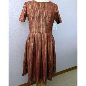 LuLaRoe Elegant Amelia dress NWT red gold foil XL